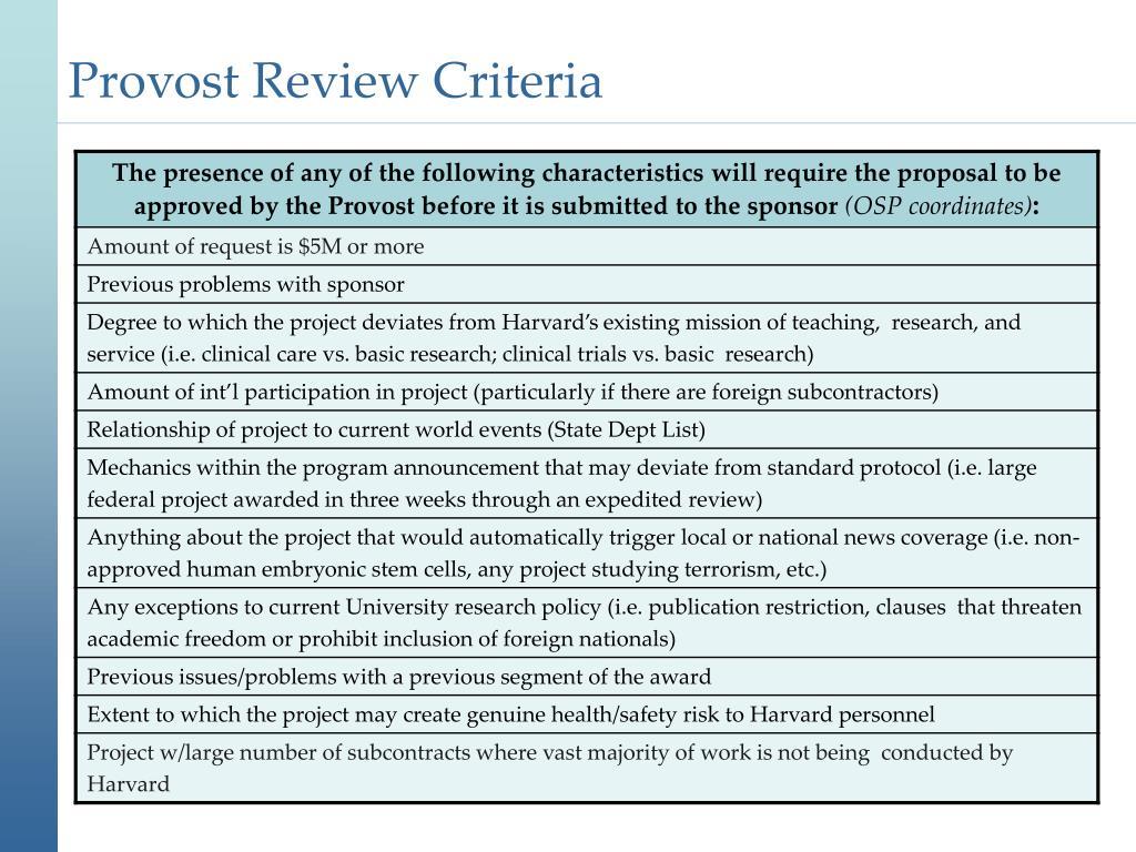 Provost Review Criteria