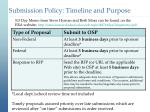submission policy timeline and purpose