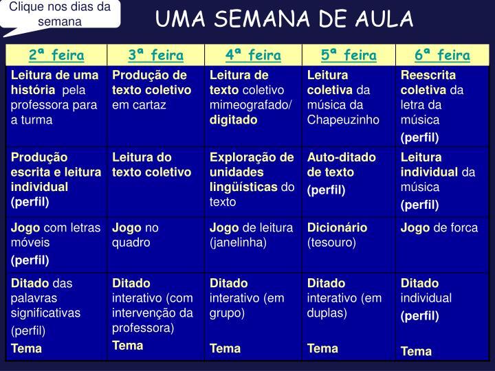 UMA SEMANA DE AULA
