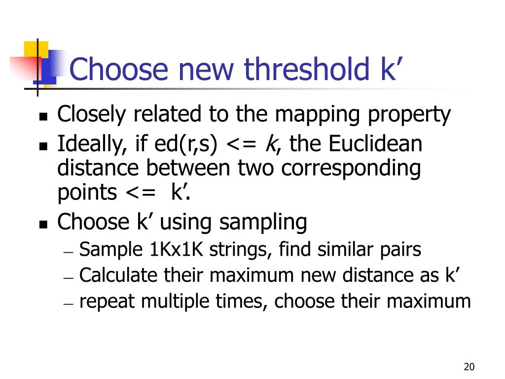Choose new threshold k'