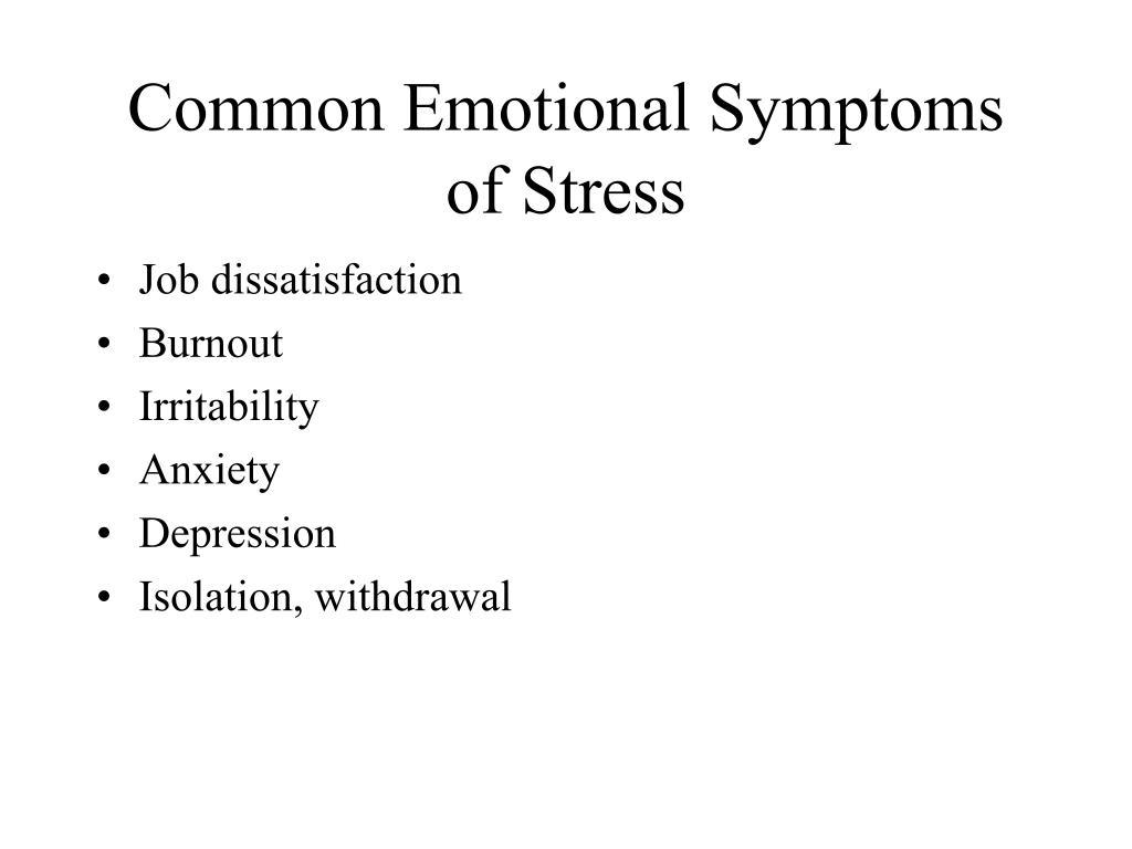 Common Emotional Symptoms of Stress