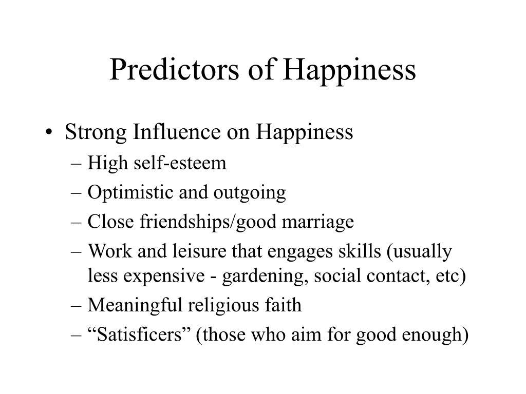 Predictors of Happiness