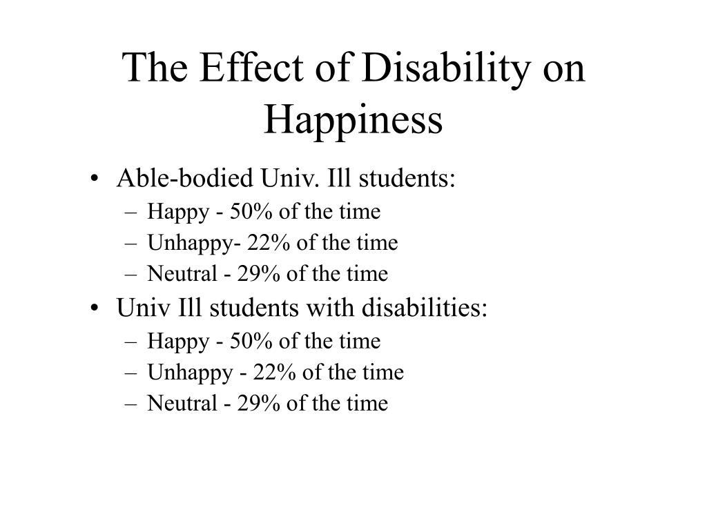 The Effect of Disability on Happiness