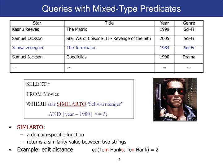 Queries with mixed type predicates