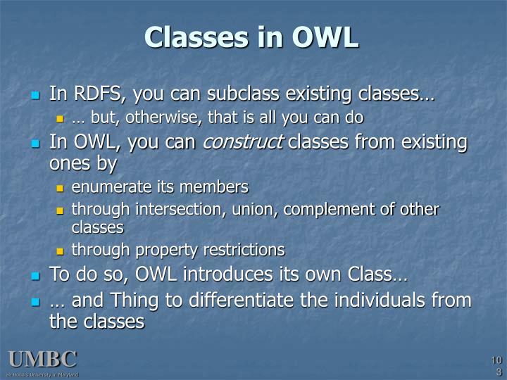 Classes in OWL