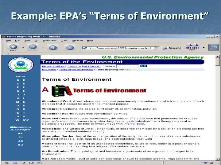 "Example: EPA's ""Terms of Environment"""