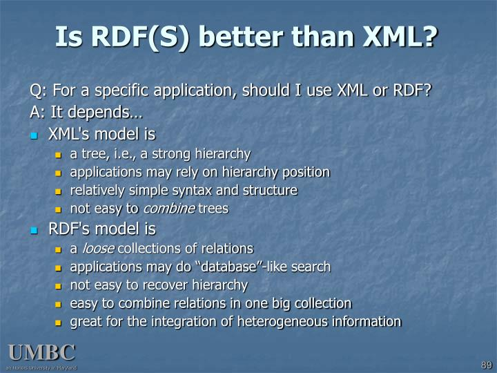 Is RDF(S) better than XML?
