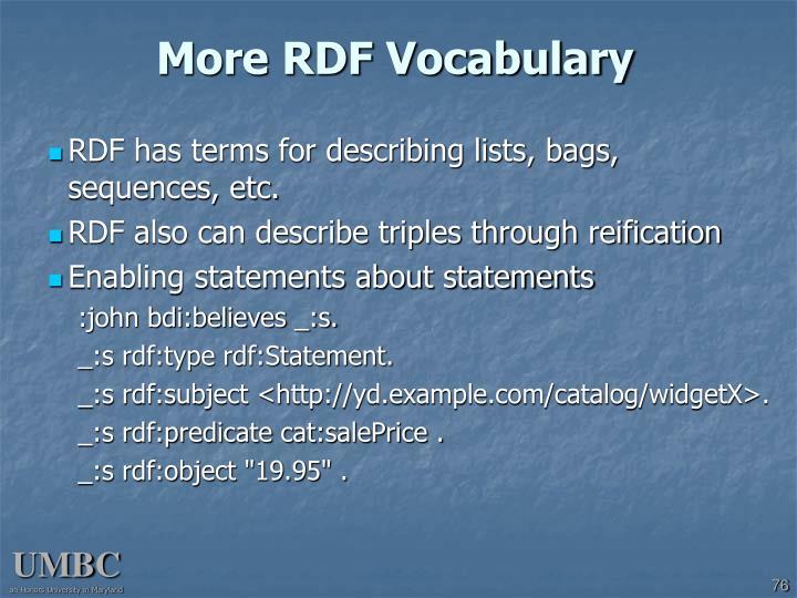 More RDF Vocabulary