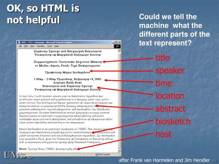OK, so HTML is