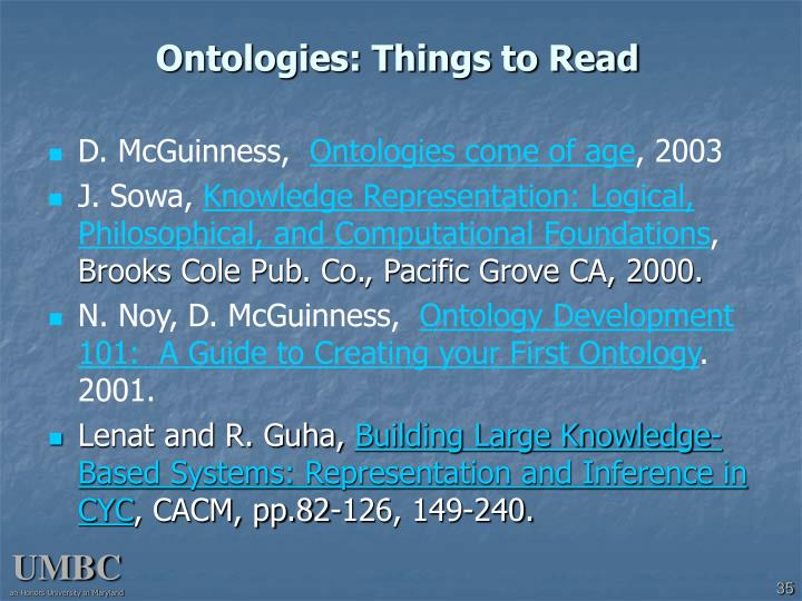 Ontologies: Things to Read