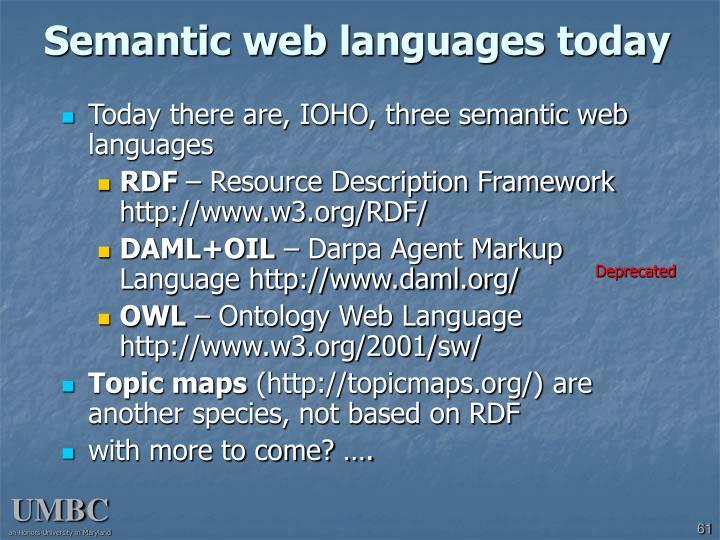 Semantic web languages today