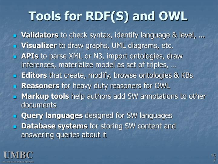Tools for RDF(S) and OWL