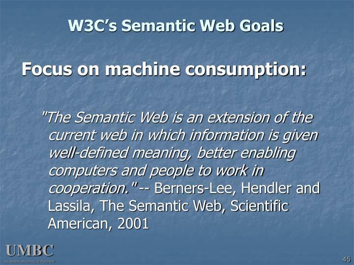 W3C's Semantic Web Goals