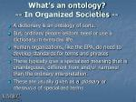 what s an ontology in organized societies
