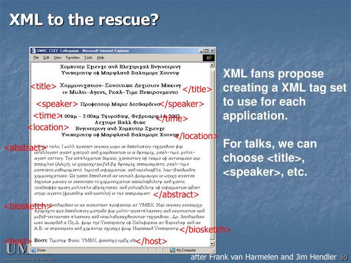 XML to the rescue?