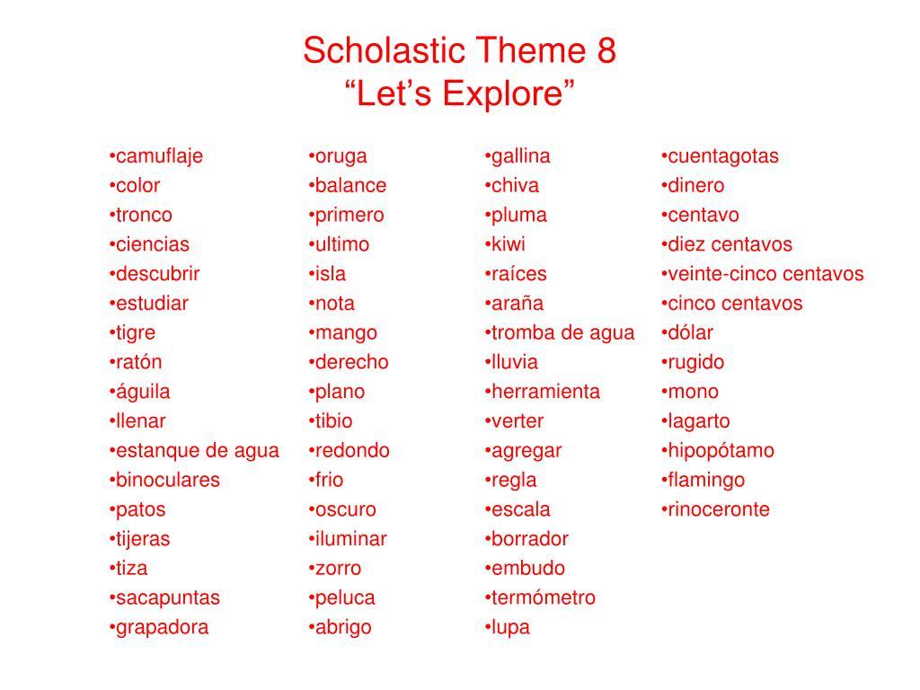 Scholastic Theme 8