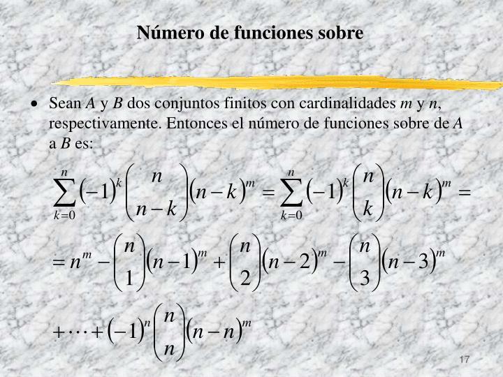 Número de funciones sobre