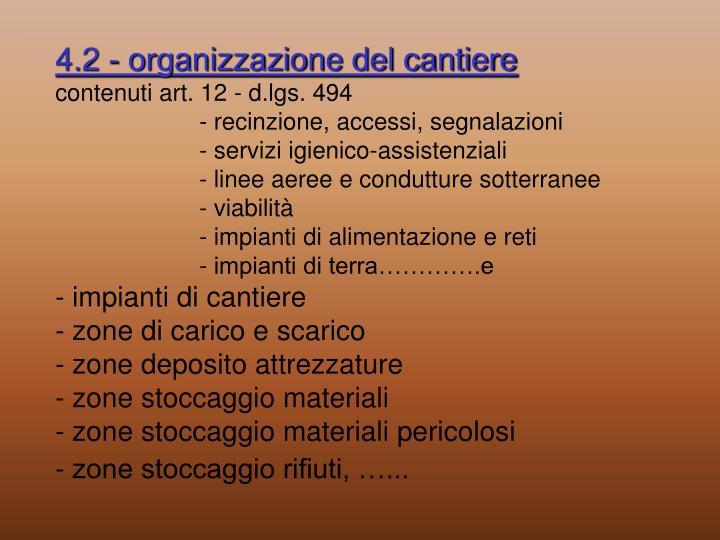 4.2 - organizzazione del cantiere