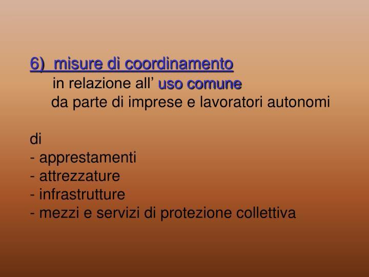 6)  misure di coordinamento