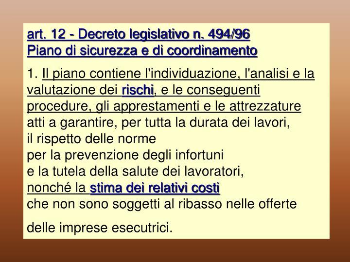 art. 12 - Decreto legislativo n. 494/96