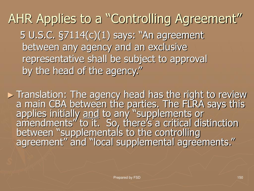 "AHR Applies to a ""Controlling Agreement"""
