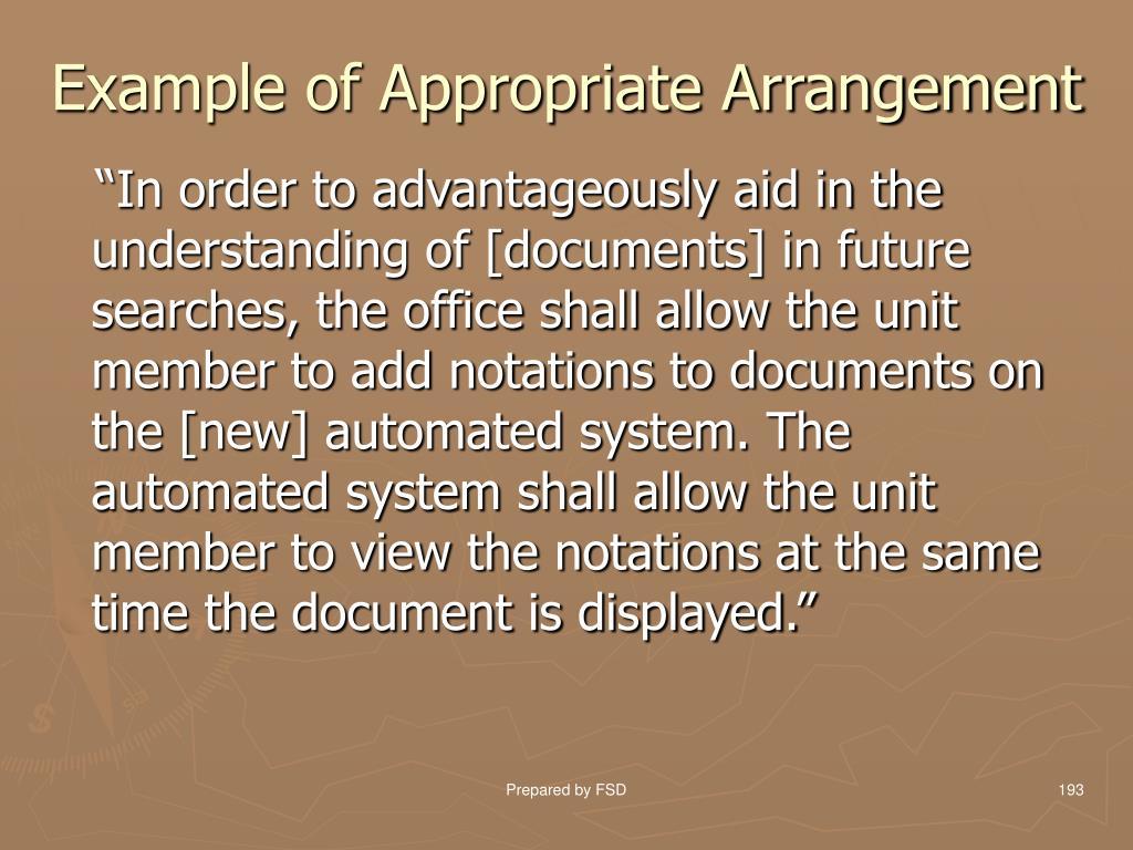 Example of Appropriate Arrangement