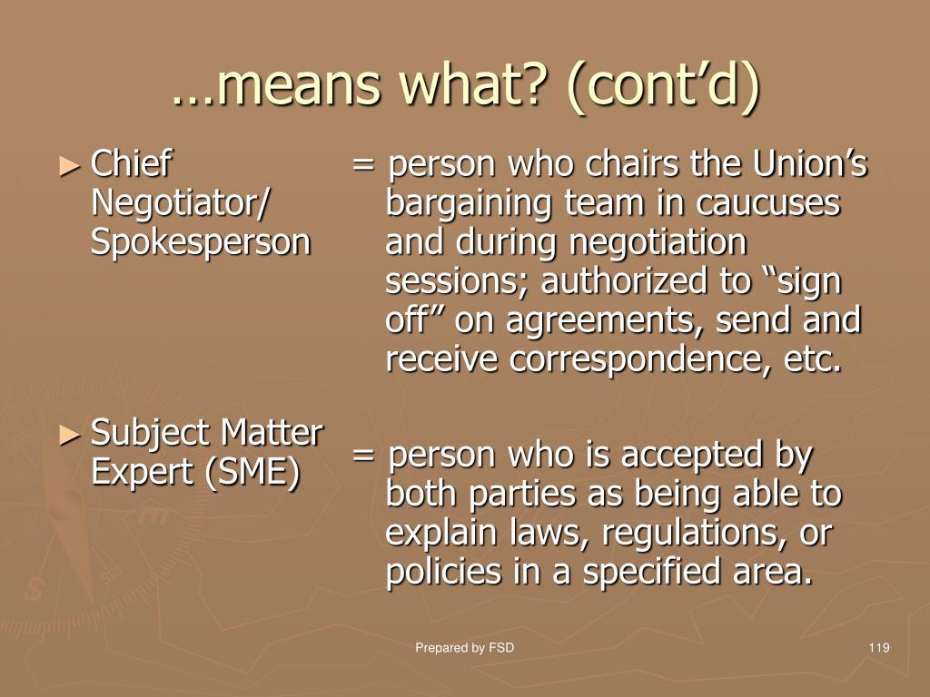 Chief Negotiator/ Spokesperson