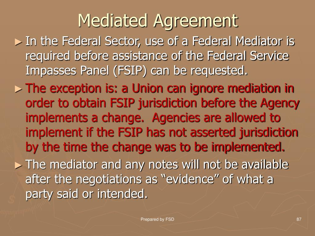 Mediated Agreement