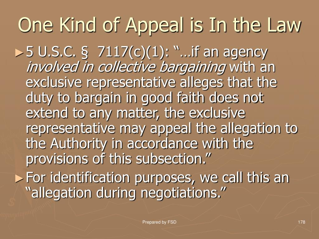 One Kind of Appeal is In the Law