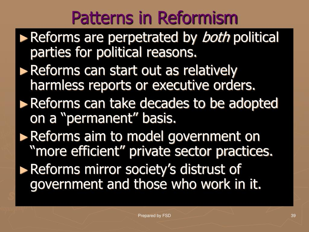 Patterns in Reformism