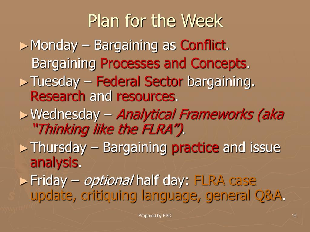 Plan for the Week