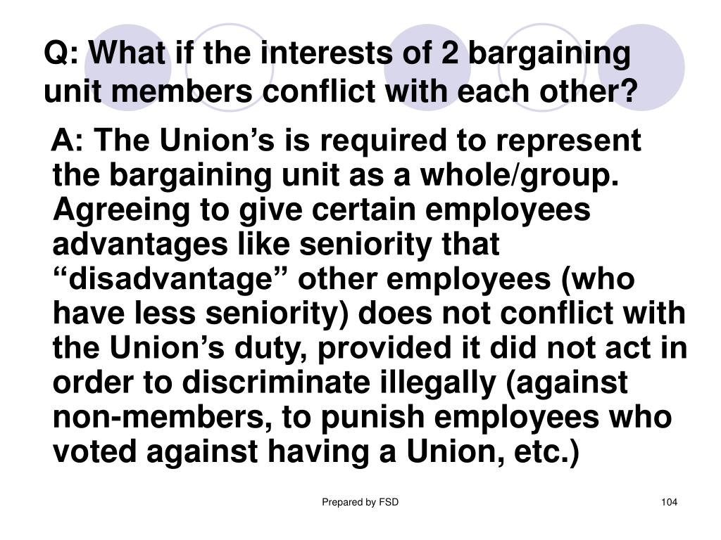 Q: What if the interests of 2 bargaining    unit members conflict with each other?
