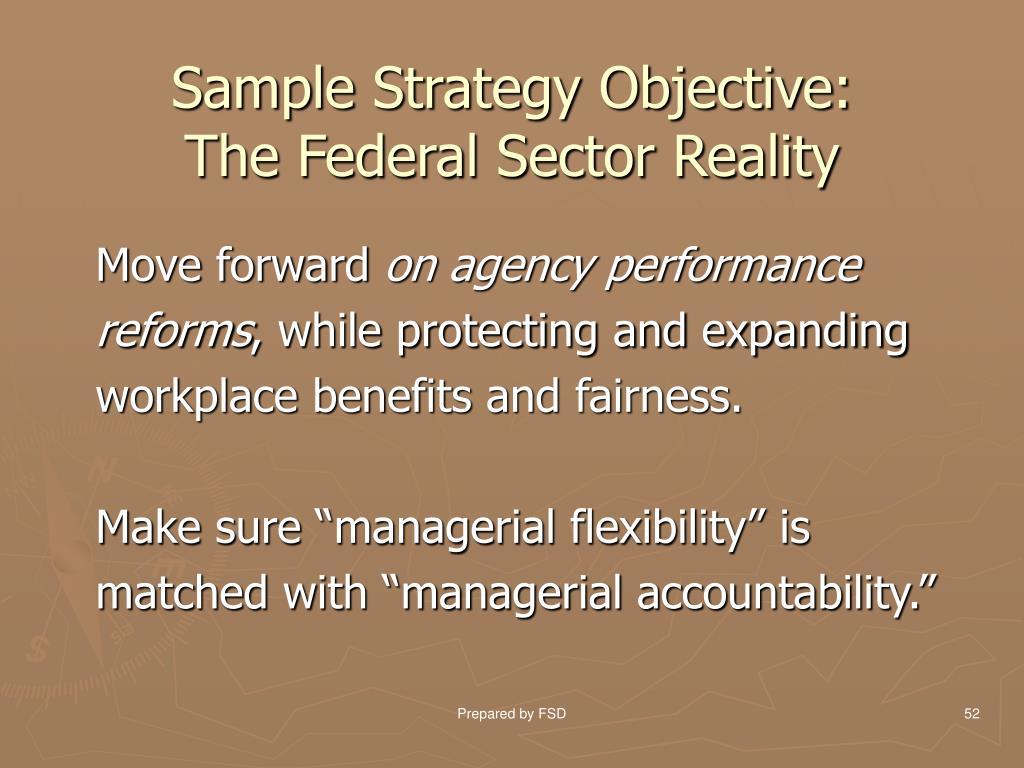 Sample Strategy Objective:
