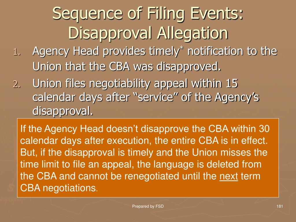 Sequence of Filing Events: