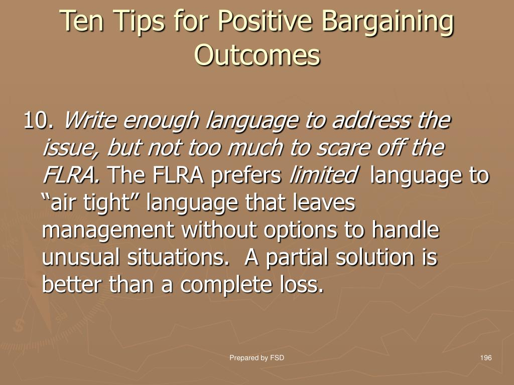 Ten Tips for Positive Bargaining Outcomes