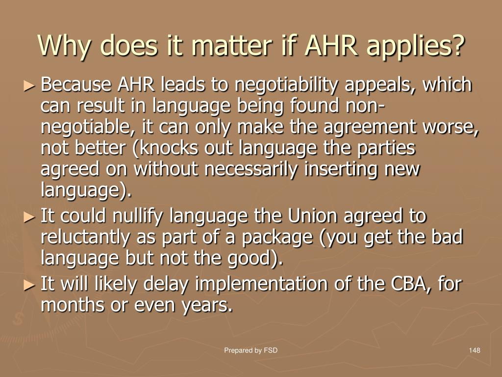 Why does it matter if AHR applies?