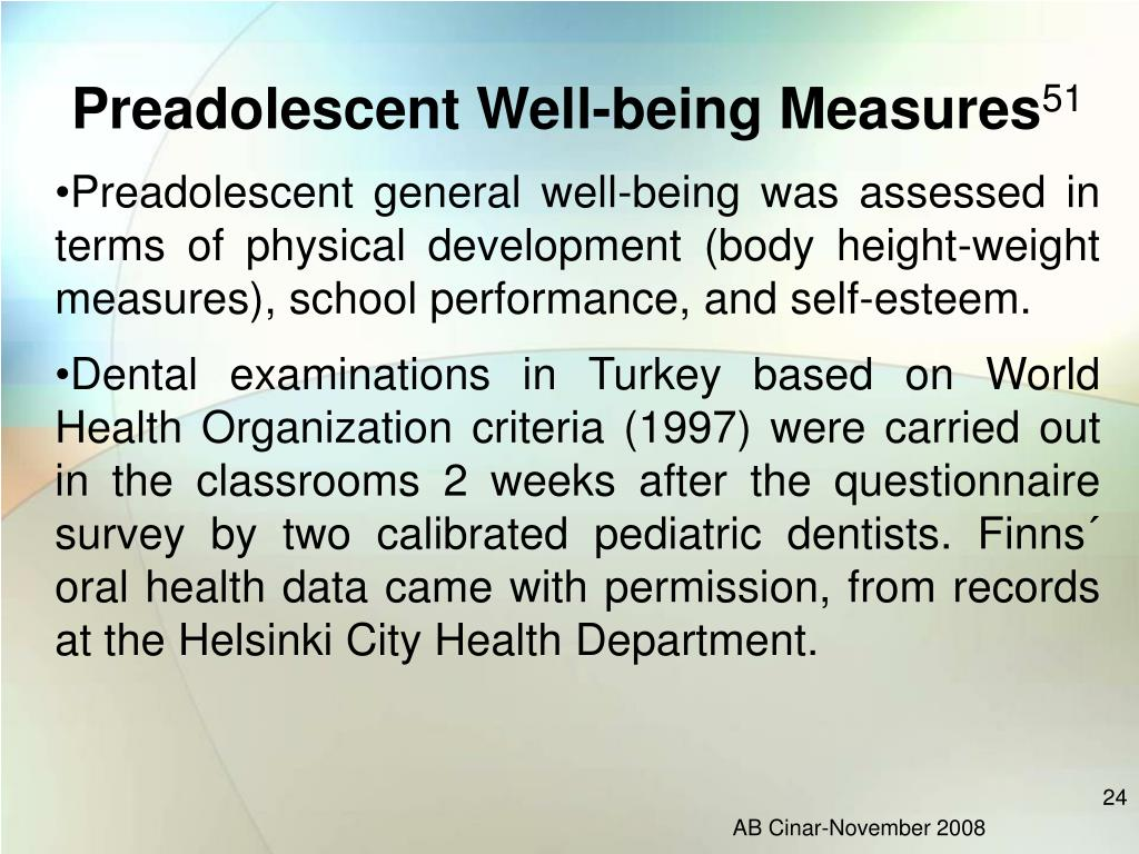Preadolescent Well-being Measures