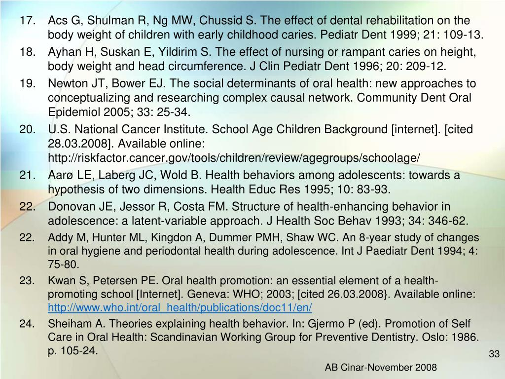 Acs G, Shulman R, Ng MW, Chussid S. The effect of dental rehabilitation on the body weight of children with early childhood caries. Pediatr Dent 1999; 21: 109-13.