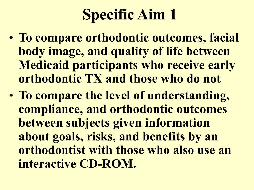Specific Aim 1