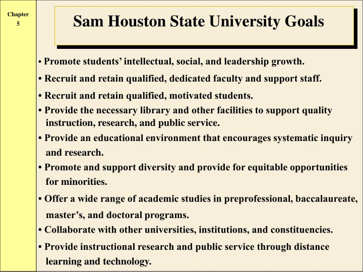 Sam Houston State University Goals
