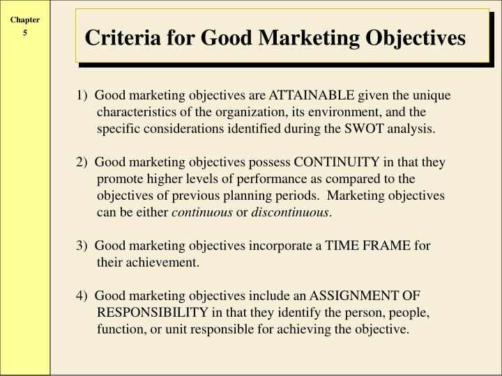 Criteria for Good Marketing Objectives