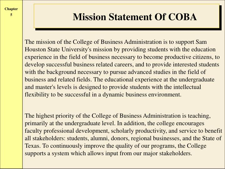 Mission Statement Of COBA