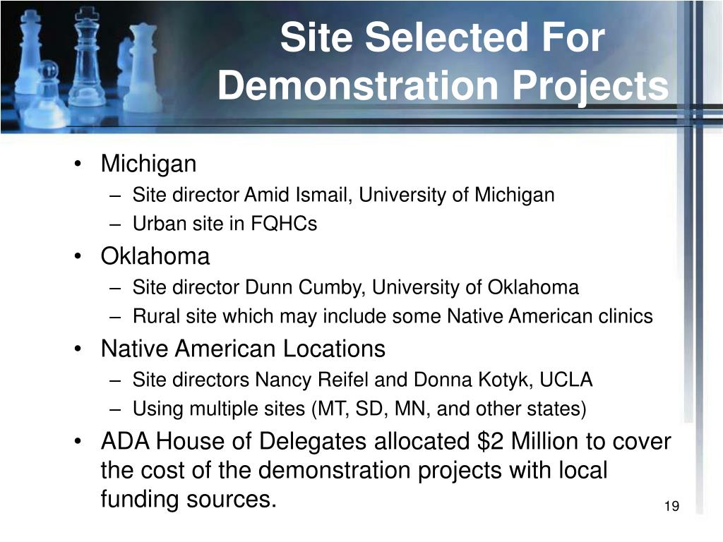 Site Selected For Demonstration Projects