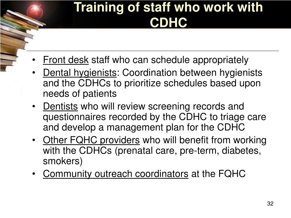 Training of staff who work with CDHC