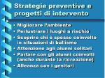 strategie preventive e progetti di intervento