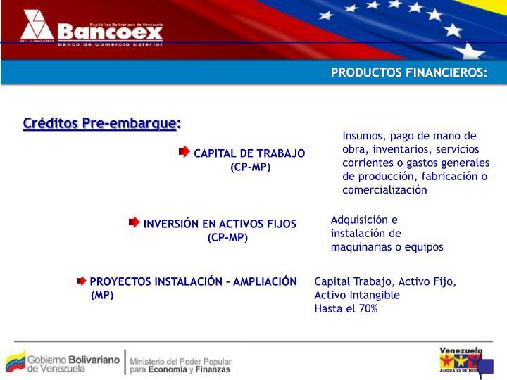 PRODUCTOS FINANCIEROS: