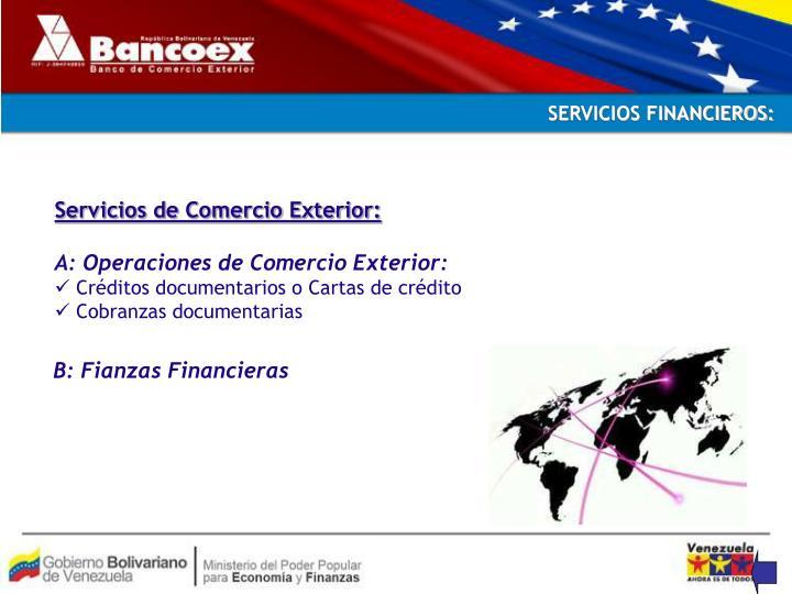 SERVICIOS FINANCIEROS: