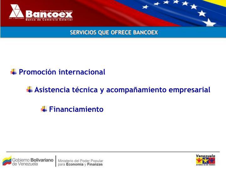SERVICIOS QUE OFRECE BANCOEX