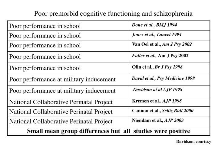 Poor premorbid cognitive functioning and schizophrenia