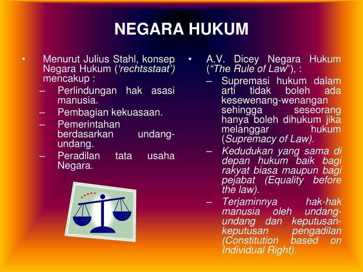 Menurut Julius Stahl, konsep Negara Hukum